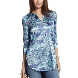 Chico's Frosted Floral Jamille Top Lobelia Blue 3